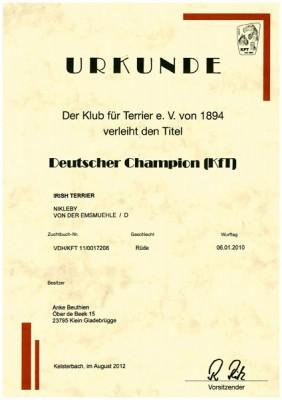 Urkunde Deutscher Champion (KFT)