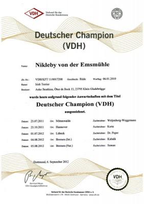 Urkunde Deutscher Champion (VDH)